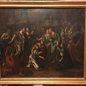 Antico dipinto realizzato con tecnica ad olio del XVIII secolo: Trasfigurazione