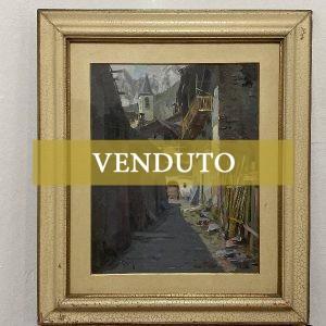 Dipinto ad olio di Vittorio Nattino: paesaggio di un villaggio montano