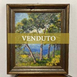 Dipinto ad olio su tavola di Guido Hanset: paesaggio marino