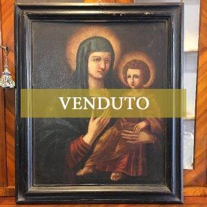 Dipinto ad olio su tela del '600 con cornice coeva: Madonna col Bambino