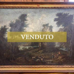 Antico dipinto '700 (olio su tela): paesaggio fluviale con contadini