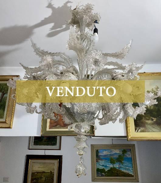 Antico lampadario in vetro di Murano XIX secolo
