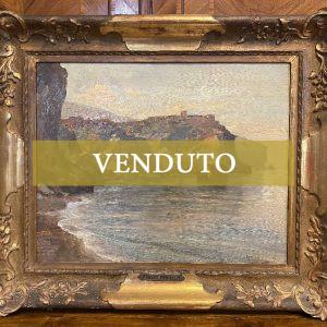 Paesaggio marino dipinto olio su tavola: Fausto Pratella