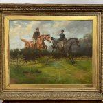Dipinto ad olio su tela di Adrian Jones raffigurante due cavallieri nella campagna inglese