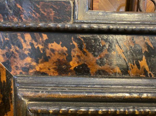 Antica cornice guilloche XVII secolo ebanizzata con inserti in tartaruga - 003