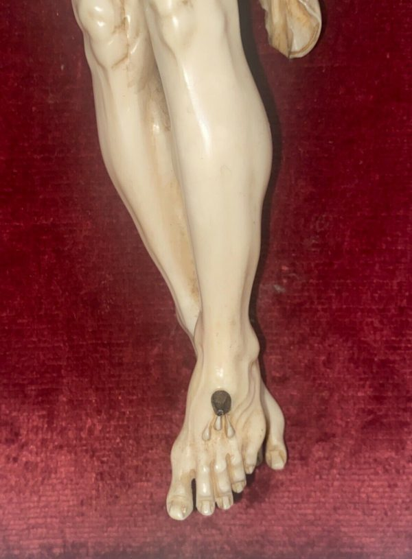 Antico Cristo in avorio scolpito del 1700 - 007