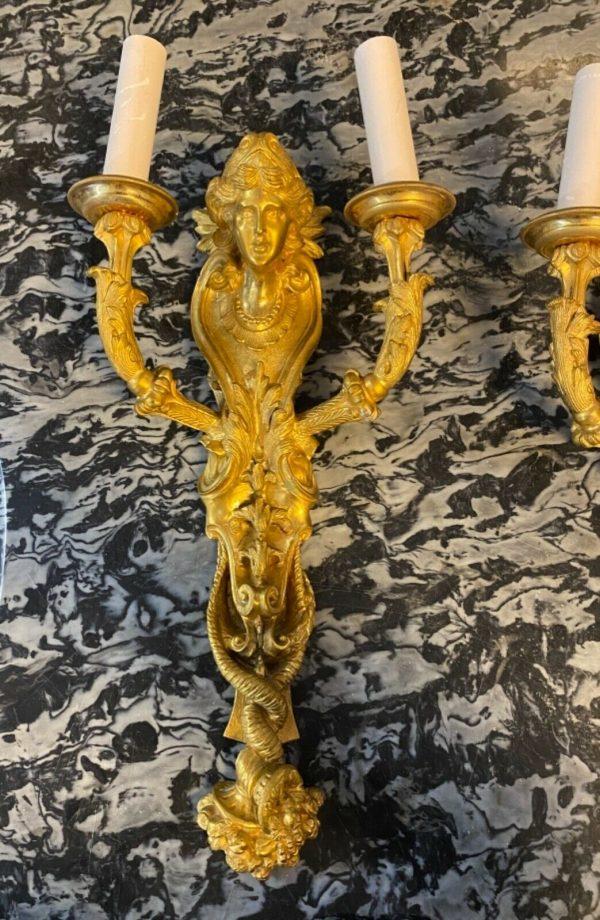 Coppia di Appliques '800 in bronzo dorato Napoleone III - 002