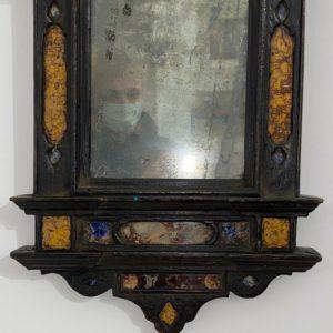 Antica cornice a tempietto ebanizzata con inserti in marmo del XVII secolo - 002