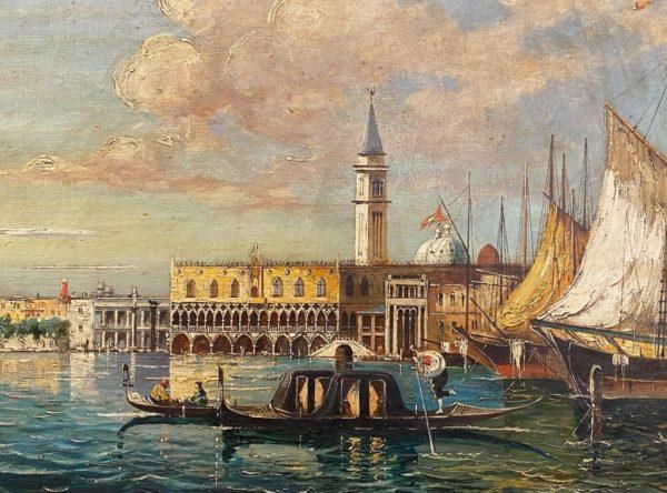 Antico dipinto ad olio su tela di Venezia fine '800 primi '900