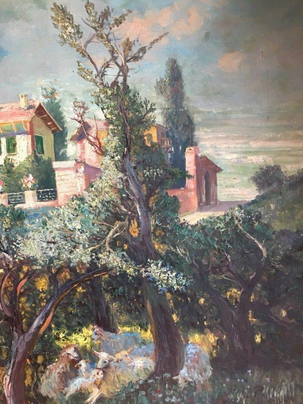 Dipinto ad olio su tela di Gerolamo Varese raffigurante villa sulle colline