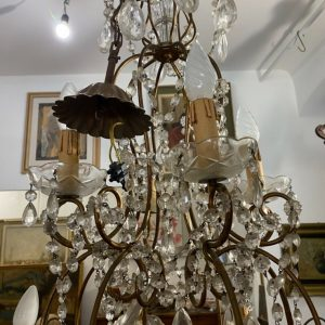 Lampadario a gocce dei primi anni del '900 con 10 luci