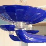 Lampadario vintage anni '70 Venini di Murano colore blu cobalto con 10 luci
