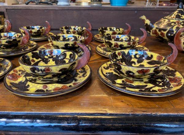 Servizio da tè MGA (Mazzotti Giuseppe Albissola) in ceramica maiolicata