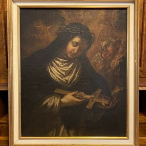 Antico dipinto ad olio su tela del 1600 raffigurante Santa Caterina da Siena - 001